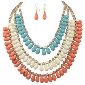 Coral Orange Blue Ivory Beaded Necklace Set